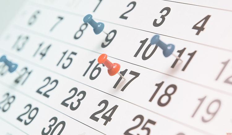 Calendário de Provas 2019